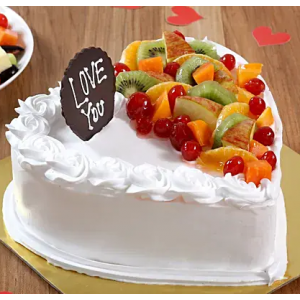 Vanilla Heart Shape Fruit Cake