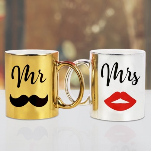 MR AND MRS GOLDEN AND SILVER MUG
