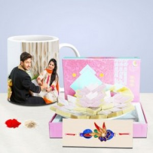 Rakhi With Customized Mug and Sweet