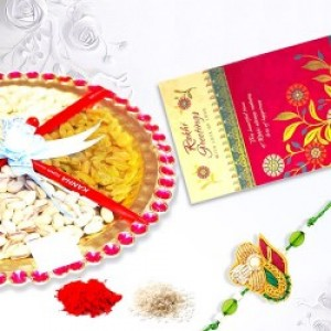 Rakhi With Dry Fruit Thali And Greeting Card