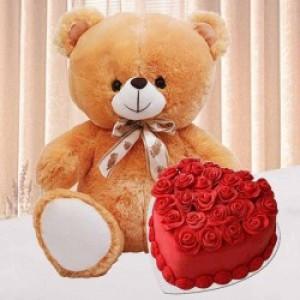 Red Velvet Heart Cake and Teddy Combo