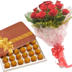 12 Fresh Red Roses Bunch motichoor ladoo