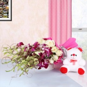 Royal Love Teddy with Flowers