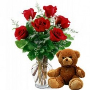 Splendid Combo of Teddy with Flowers