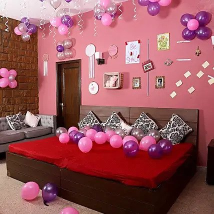 Pink Purple & Silver Colorful Balloons Decoration